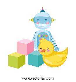 toys for small kids to play cartoon, rubber duck robot and cubes