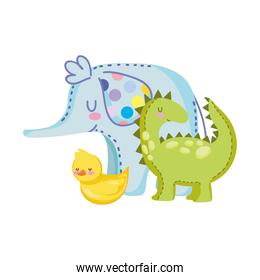 toys object for small kids to play cartoon, dinosaur duck and elephant