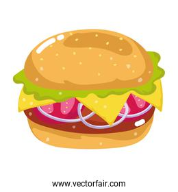 fast food burger snack cartoon isolated icon white background