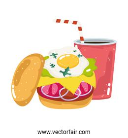 fast food menu restaurant unhealthy fried egg burger and soda over white