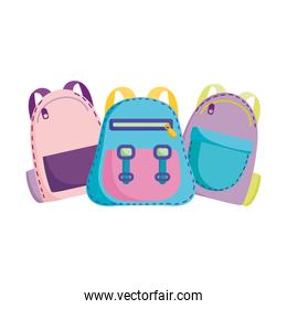 back to school, backpacks accessories supplies elementary education cartoon