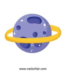 planet saturn solar system cartoon isolated icon design white background