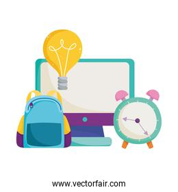 back to school, backpack clock computer idea elementary education cartoon