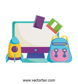 back to school, backpack rocket computer and books elementary education cartoon
