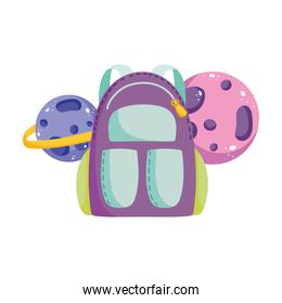 back to school, backpack and solar system planets elementary education cartoon