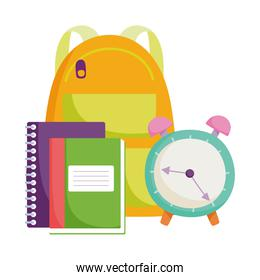 back to school, backpack clock and books elementary education cartoon