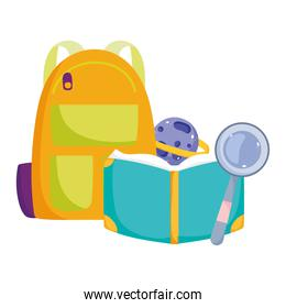 back to school, backpack book planet and magnifier elementary education cartoon