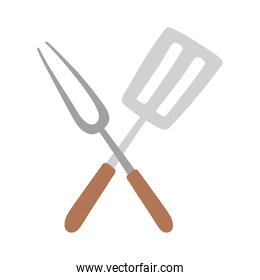crossed fork and spatula kitchen utensil steel isolated icon design white background