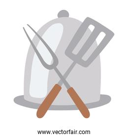 kitchen platter fork and spatula isolated icon design white background