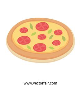fast food pizza with pepperoni isolated icon design white background