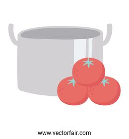kitchen pot and tomatoes vegetables isolated icon design white background