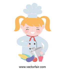 chef girl preparation pot ladle and vegetables cartoon character