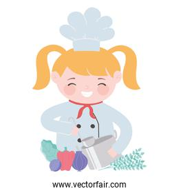 chef blonde girl with pot pepper onion beet cartoon character