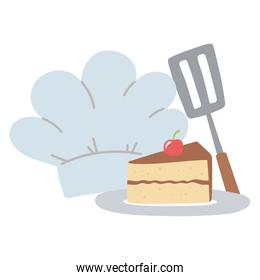 chef hat and slice cake isolated icon design white background