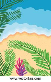 Beach with sea and leaves top view detailed style icon vector design