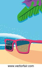 Beach with sea glasses and leaves detailed style icon vector design