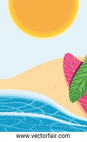 Beach with sea sun and leaves detailed style icon vector design
