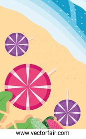 Beach with sea umbrellas and leaves top view detailed style icon vector design