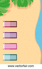 Beach with sea towels and leaves top view detailed style icon vector design