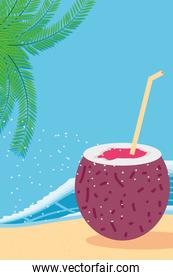 Beach with sea coconut cocktail and leaves detailed style icon vector design