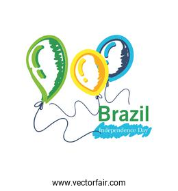 brazil independence day with helium balloons