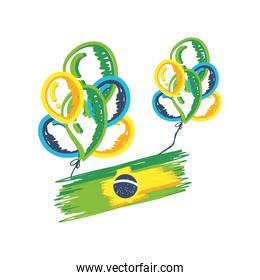 brazil flag with balloons, independence day of brazil