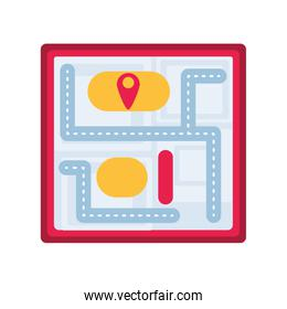 paper map location on white background