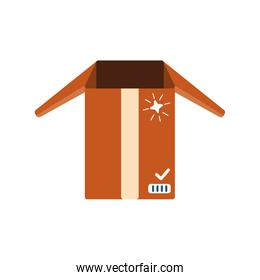 cardboard box, delivery and packaging on white background