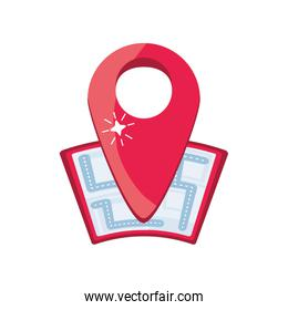 location map with red pin on white background