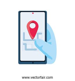 gps map on smartphone display on white background