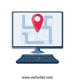 gps map on computer display on white background