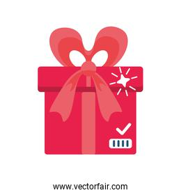 red gift box with ribbon on white background