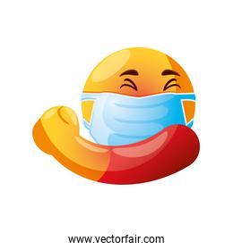 emoji with medical mask over mouth fights the virus