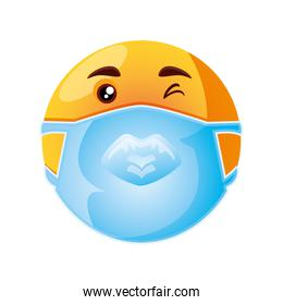 emoji with medical mask over mouth for prevent the outbreak of the virus