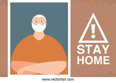 stay at home campaign, old man in the house window