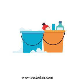 Cleaning utensils in bucket on white background