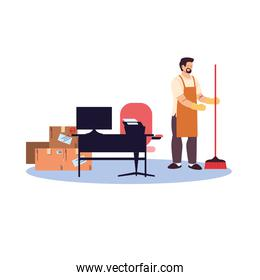 cleaning man doing office cleaning work