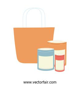 shopping bag with different icons and products