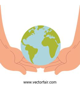 hands supporting the world and giving support
