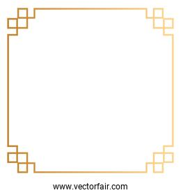 golden square frame decoration icon