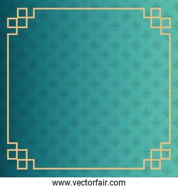 flowers garden pattern of green color with golden frame