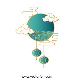 mid autumn festival with clouds and sea waves in circular frame
