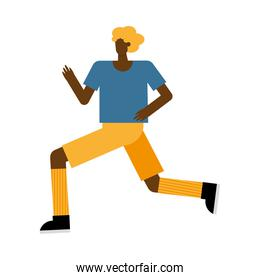 young afro man running practicing activity