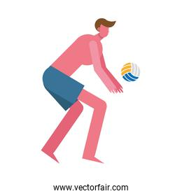 young man wearing swimsuit playing,volleyball character
