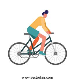 young man bike ride practicing activity character