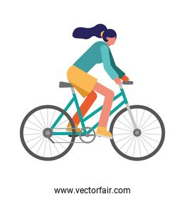 young woman bike ride practicing activity character