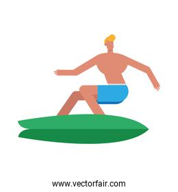 young man wearing swimsuit surfing character