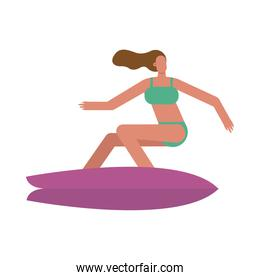 young woman wearing swimsuit surfing character