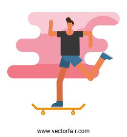 young man in skateboard practicing activity character