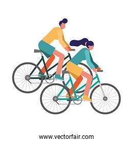 young couple bikes ride sport characters